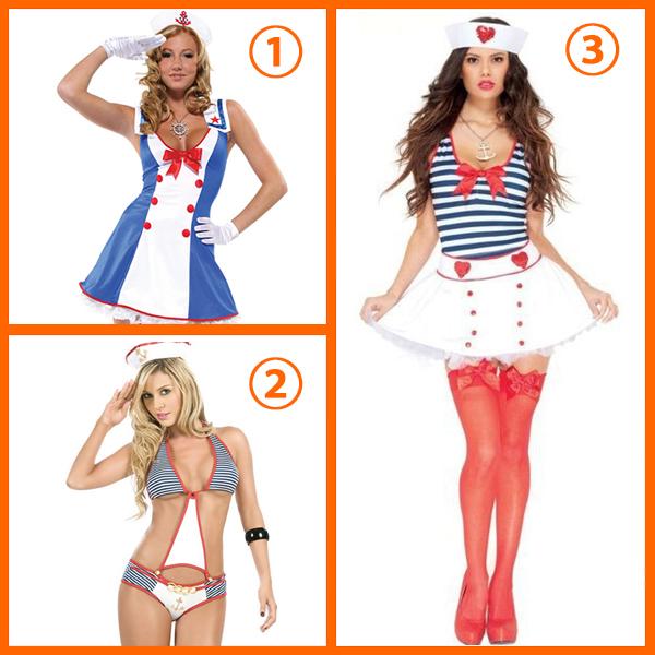 Overboard Sailor Girl Fancy Dress Costume Cosplay Halloween