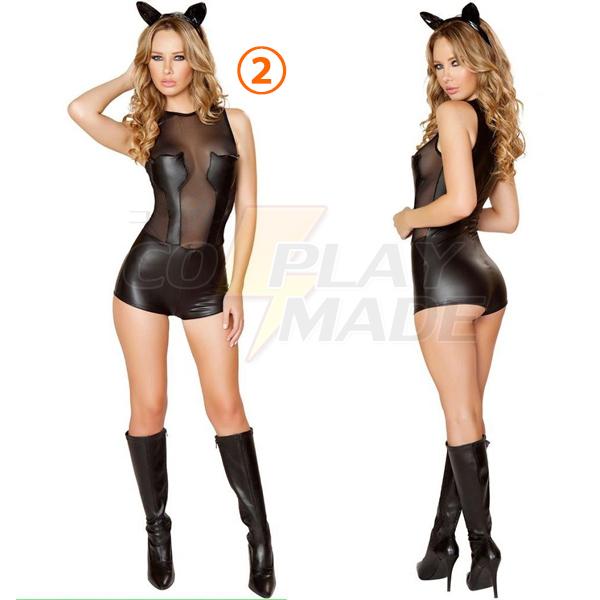 Sexy Schwarz Katzenfrau Kostüme Halloween Cosplay Kostüme