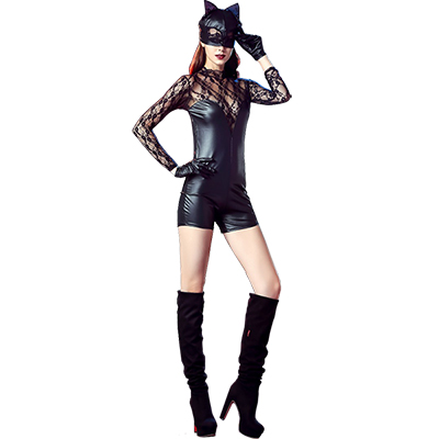 Womens Lingerie Faux Leather Lace Dress Fancy Catwoman Costume