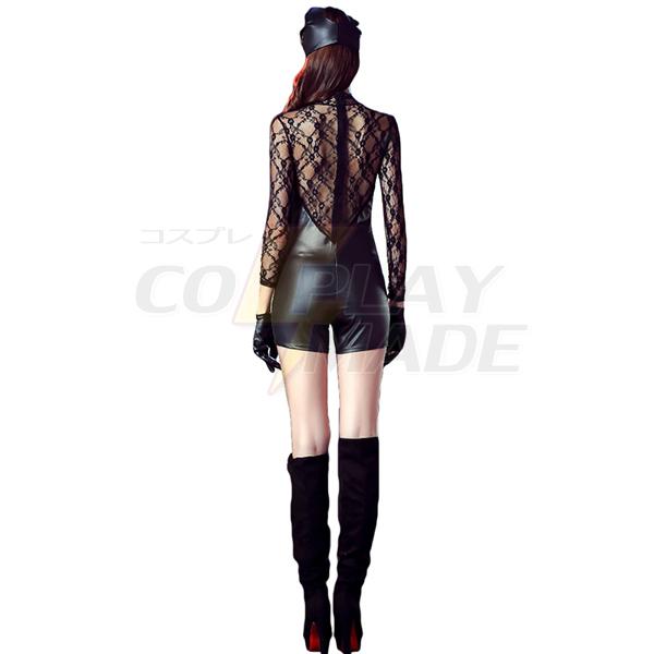 Womens Lingerie Faux Leather Lace Dress Fancy Catwoman Costume
