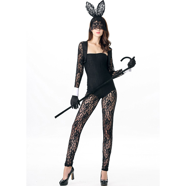 Fantasia Halloween Cosplay Costume Black Lace Out Bunny Jumpsuit