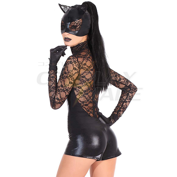 Superhero Faux Leather Catwoman Complete Outfit Costume Cosplay