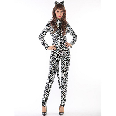 Popular Sexy Gray Leopard Catwoman Costume Cosplay Halloween