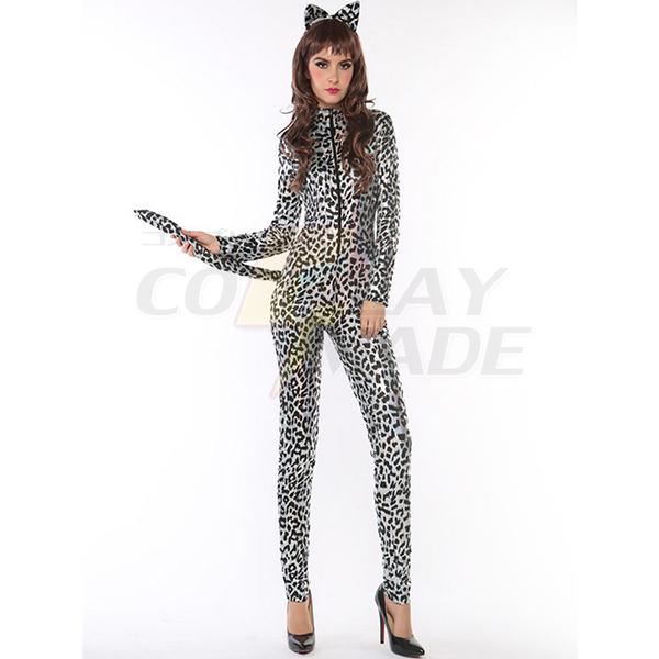 Beliebt Sexy Grau Leopard Katzenfrau Kostüme Cosplay Kostüme Halloween