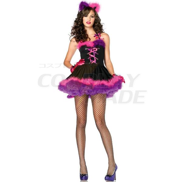 Purple Sexy Cheshire Cat Costume Cosplay Halloween