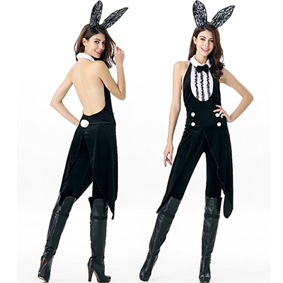 Bunny Girls Movie Black Solid Leotard Costume Cosplay Halloween
