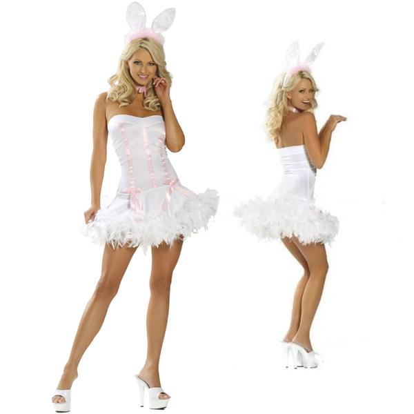 Pink White Playboy Bunny Costume Cosplay Halloween