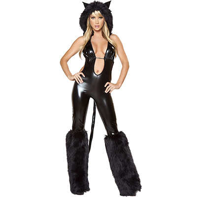 Womens Sexy Black Cat Babe Costume Cosplay Halloween