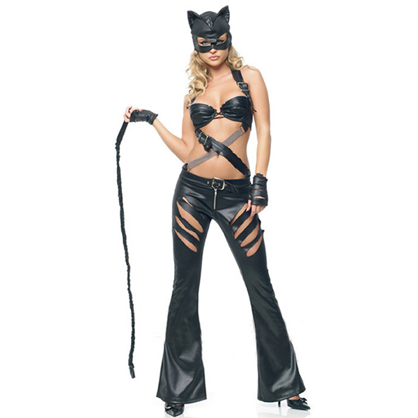 Dame Bad Kitty Catwoman Kostume Cosplay Fastelavn