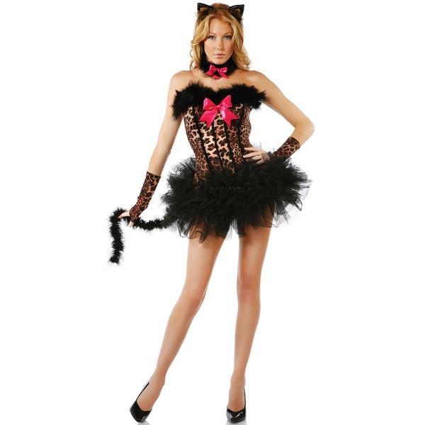 Schwarz Off Shoulder Sexy Chic Damen Halloween Cat Kostüme Cosplay Kostüme