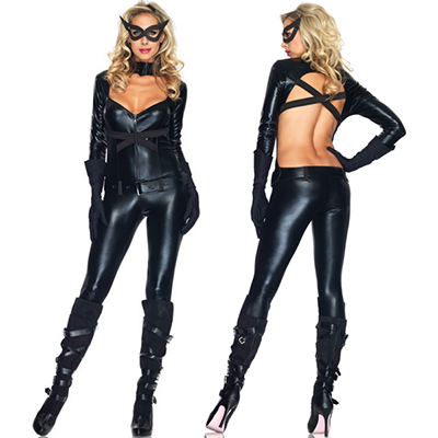 Black Cat Girl Costume Cosplay Catwoman Halloween