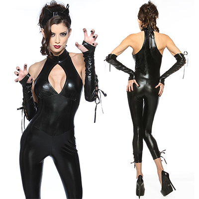 Sexy Cat Woman PU Leather Outfit Costume Cosplay