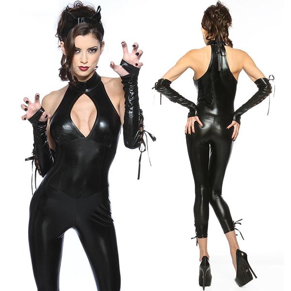 Sexy Cat Frau PU Leather Kleidung Kostüme Cosplay Kostüme