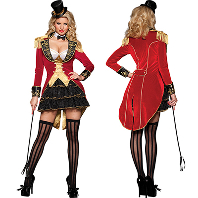 Voksen Dame Damer Rød Smoking Circus Kostume Cosplay