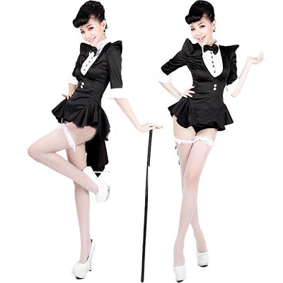 Adult Ladies Tuxedo Costume Magician Cosplay Halloween
