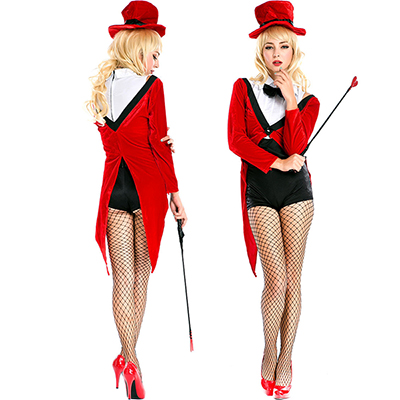 Red Magician Christmas Fancy Dress Halloween Costume Circus Trainer Cosplay