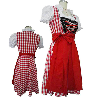 Cosplay Meid Kostuum Festival/Holiday Carnaval Rood Plaid Jupe Halloween