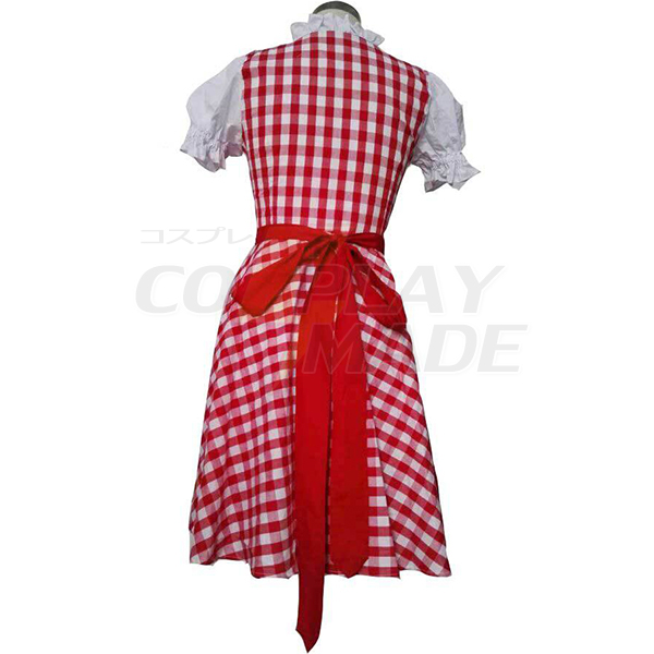 Cosplay Maid Costume Festival/Holiday Halloween Red Plaid Skirt