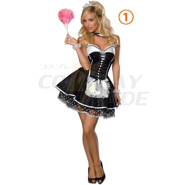 Voksen Fransk Stuepige Kostume Cosplay Halloween Fastelavn