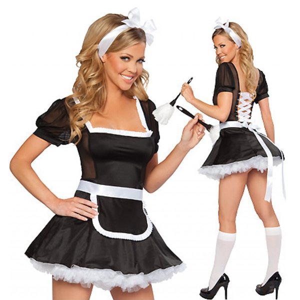 White Black Sexy Lingerie Womens Fever Flirty French Costume