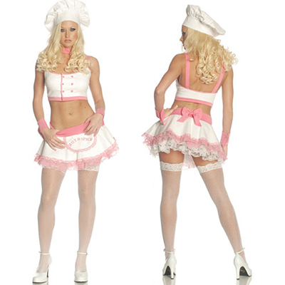 Pink Sexy Mini Skirts Maid Costume Cosplay Halloween