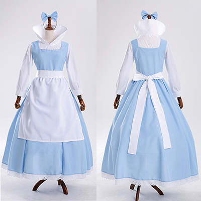 Beauty and Beast Bell Blå Hembiträde Servant Cosque Kjol Kostymer/Dräkter Cosplay
