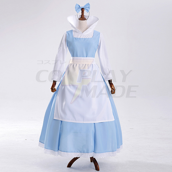 Beauty and Beast Bell Blue Maid Servant Cosque Skirt Costume Cosplay