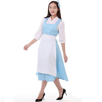 Beauty and Beast Bell Blue Maid Servlet Disney Princess Dress Cosplay Costume