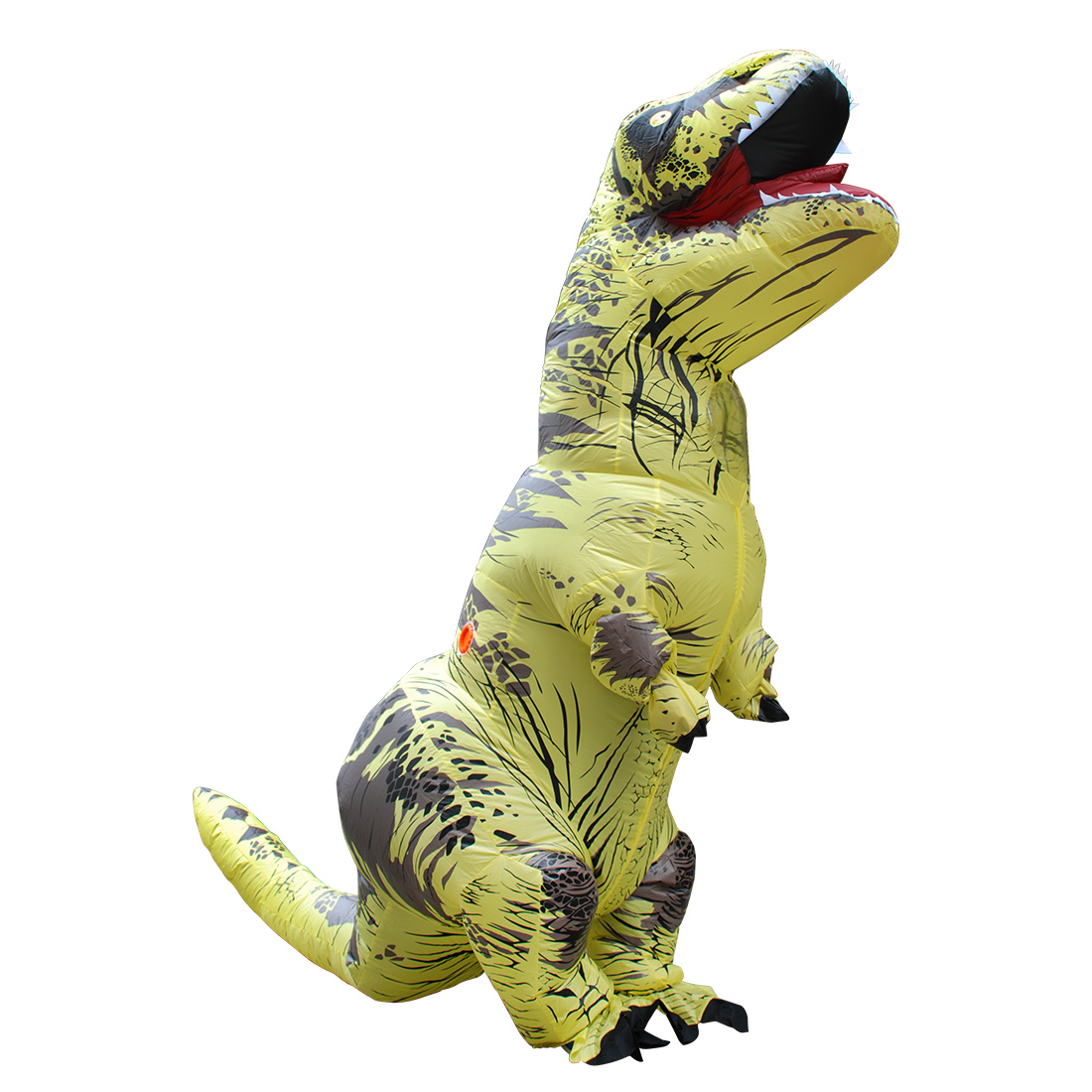 2017 Adult Yellow Polyester T-REX INFLATABLE Dinosaur Costume Halloween Costumes for Men Fancy Dress with Pump Carnival