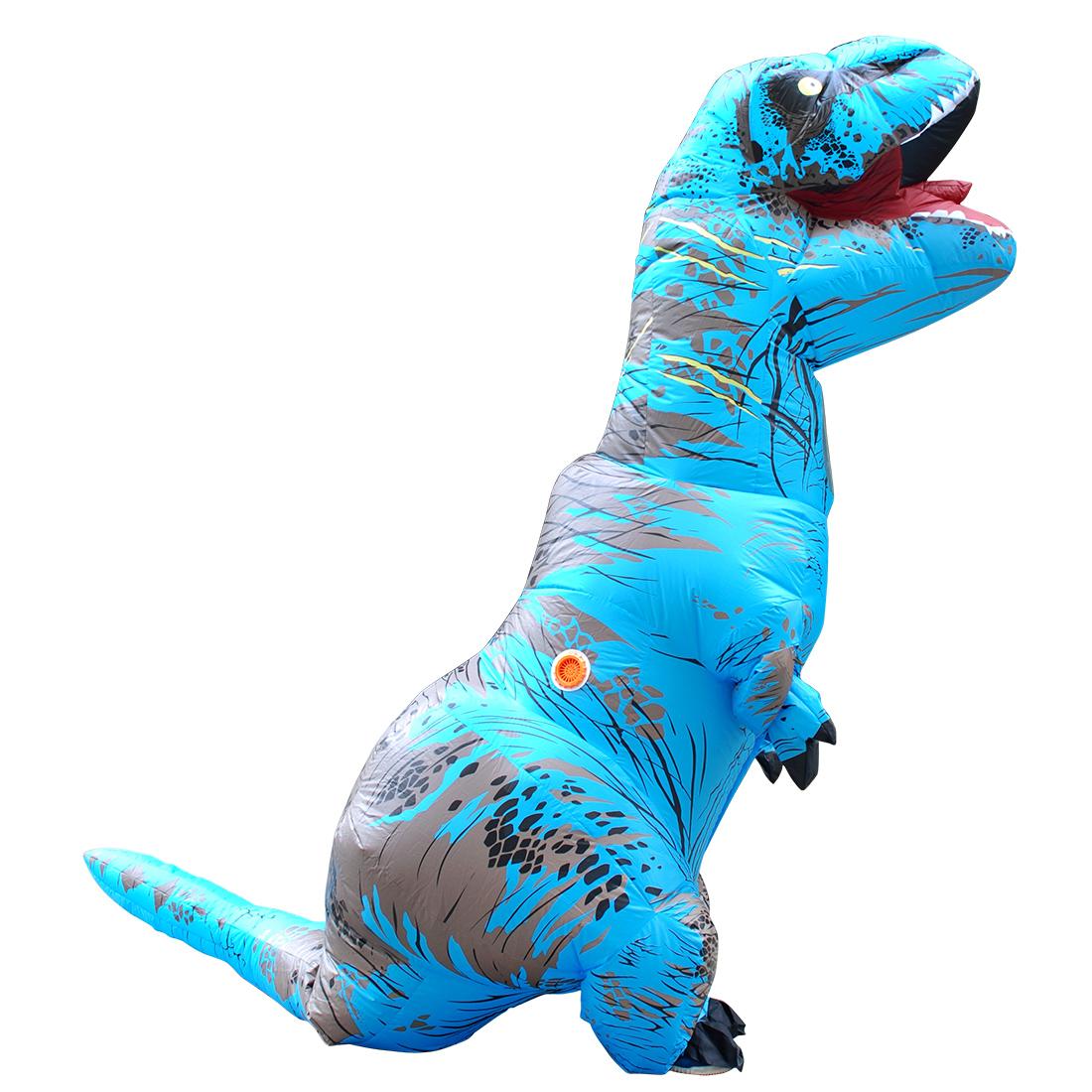 Carnival Erwachsene Blau T-REX Aufblasbar Dinosaurier Kostüm Jumpsuit Halloween Faschingskostüme