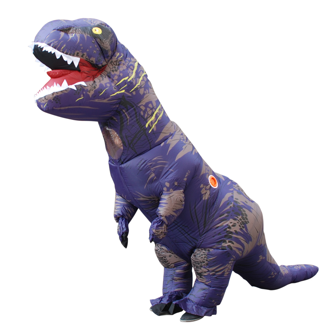 Adult Purple Polyester T-REX INFLATABLE Dinosaur Costume Cosplay with Pump Carnival
