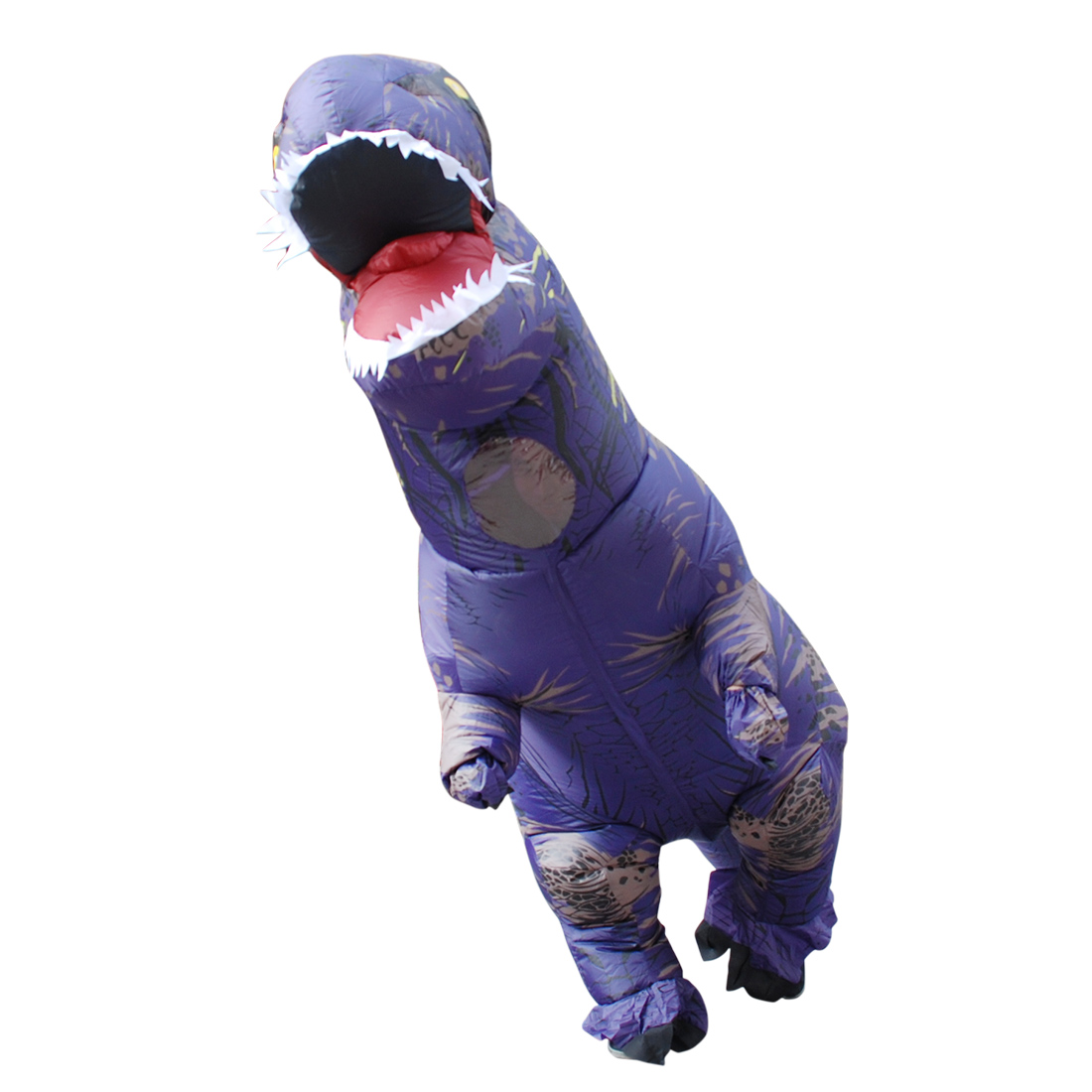 Adult Purple Polyester T-REX INFLATABLE Dinosaur Costume Fancy Dress Cosplay Animal Jumpsuit Costumes with Pump Carnival