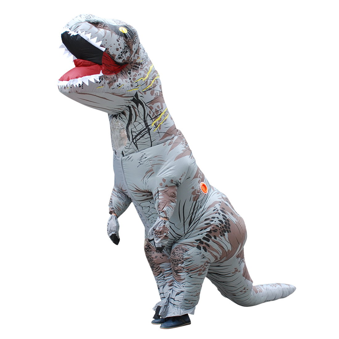 2017 Adult Gray Polyester T-REX INFLATABLE Dinosaur Costume Fancy Dress Halloween Cosplay Animal Jumpsuit Costumes with Pump Carnival