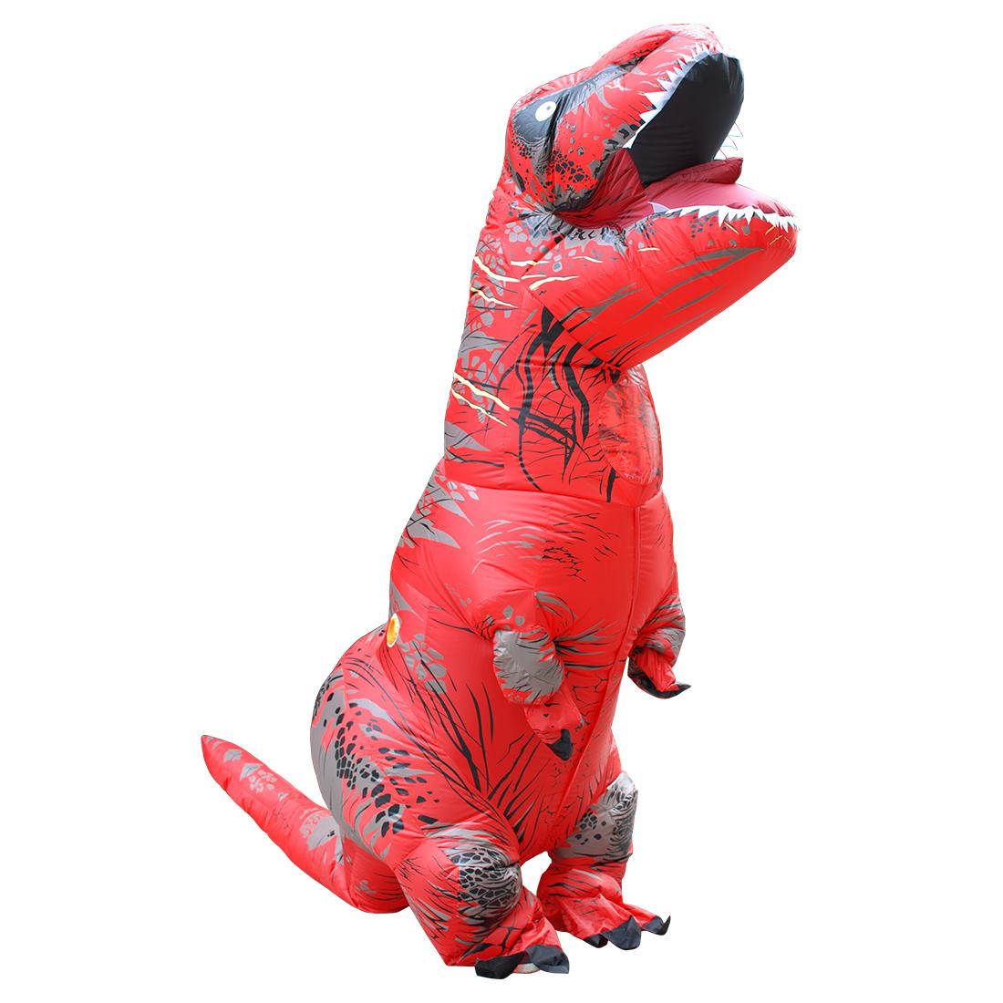 Erwachseneos Rot T-REX Kostüme Aufblasbar Dinosaurier Kostüm Halloween Faschingskostüme Karneval