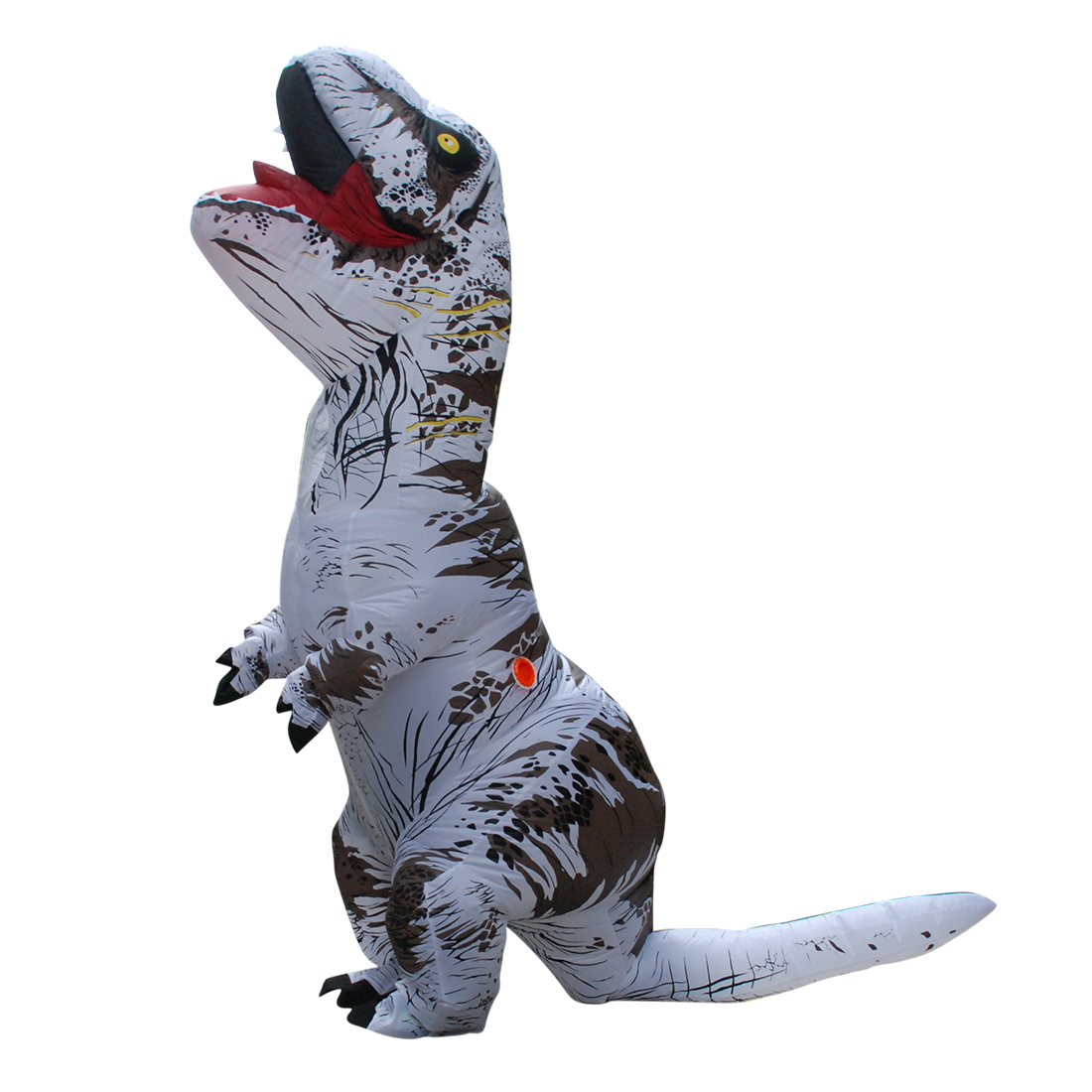 Adult White T-REX INFLATABLE Dinosaur Costume Fancy Dress Cosplay Animal Jumpsuit Halloween Costumes of Men with Pump Carnival
