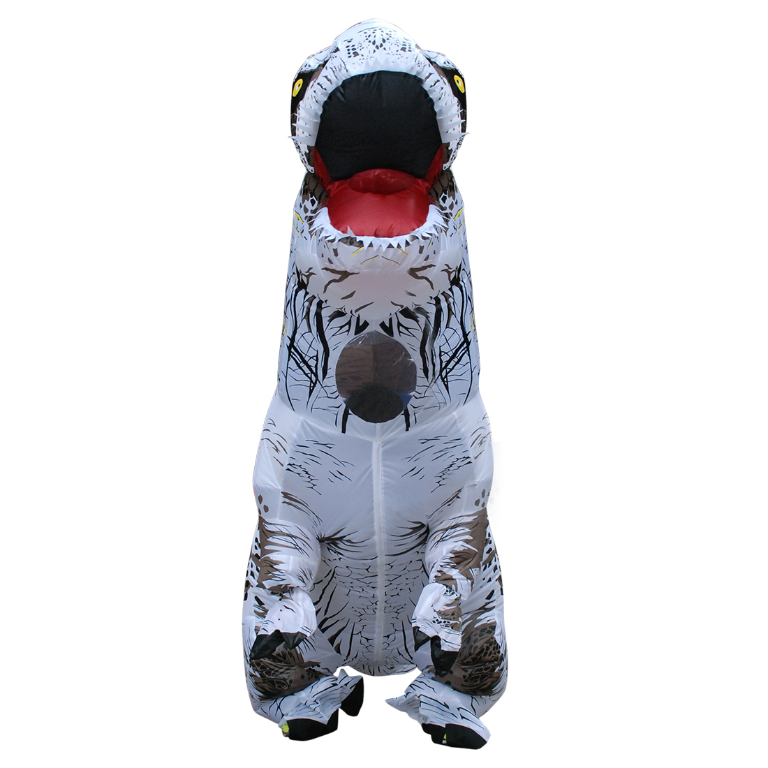 Erwachsene Weiß T-REX Aufblasbar Dinosaurier Kostüm Verrücktes Kleid Faschingskostüme Karneval