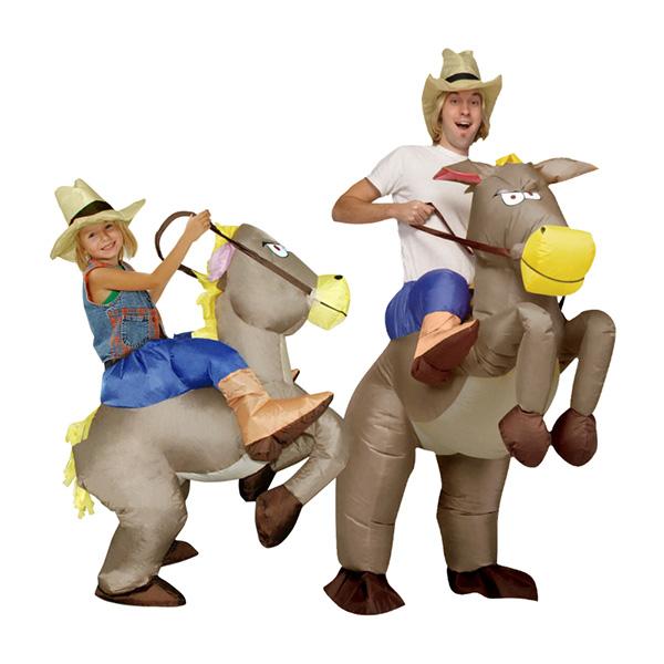 Voksen Oppustelig Cowboy Dinosaurus Kostume Ride Halloween Cosplay