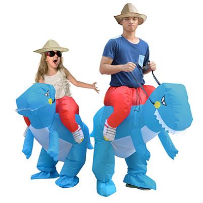 Volwassen Blauw Opblaasbaar Dinosaur Kostuum Dino Rider T-Rex Cosplay Carnaval