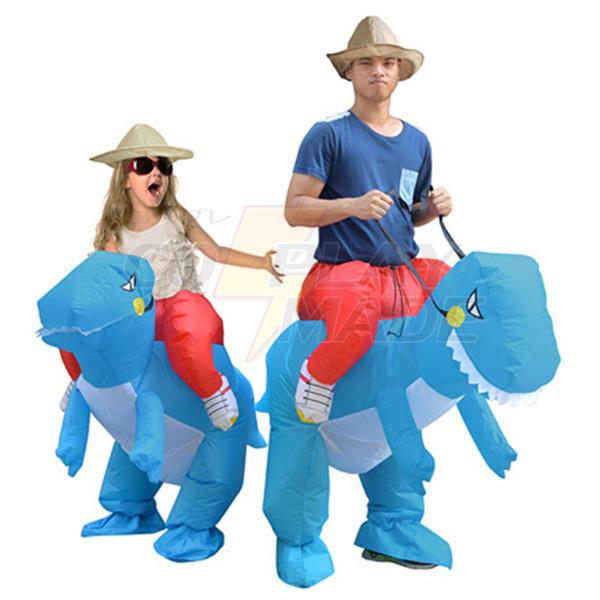 Erwachsene Blau Aufblasbar Dinosaurier Kostüm Dino Rider T-Rex Karnevals Kostüme