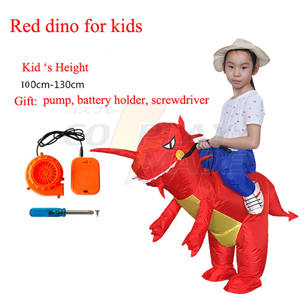Adult Red Inflatable Dinosaur Costume Dino Rider T-Rex Cosplay