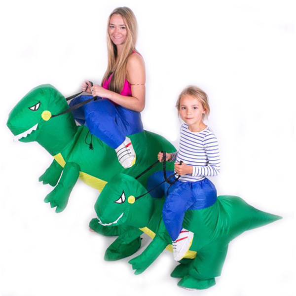 Adulto Verde Gonfiabili Dinosauri Costumi Dino Rider T-Rex Cosplay Carnevale