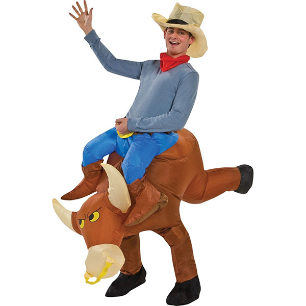 Adulte Marron Gonflable Cowboy Taureau Motor Costume Halloween Cosplay Carnaval