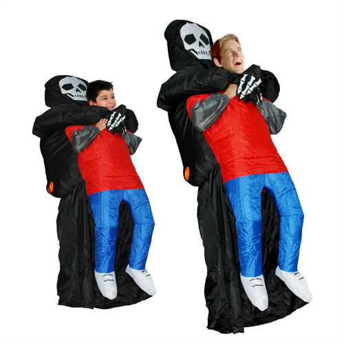 Adult Inflatable Carry Me Skull Man Costume Blown Up Ghost Cosplay