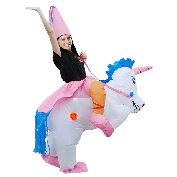 Adult Inflatable Carry Me Unicorn Dinosaur Costume Cosplay Outfit