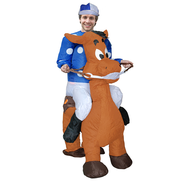 Adulto Soplado Inflable Carry Me Caballo Racing Jockey Disfraz Cosplay