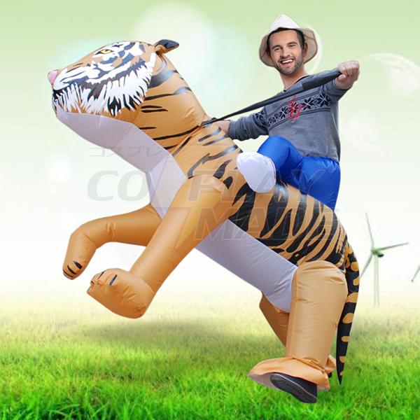 Voksen Blæses Oppustelig Carry Me Tiger Kostume Cosplay Fastelavn