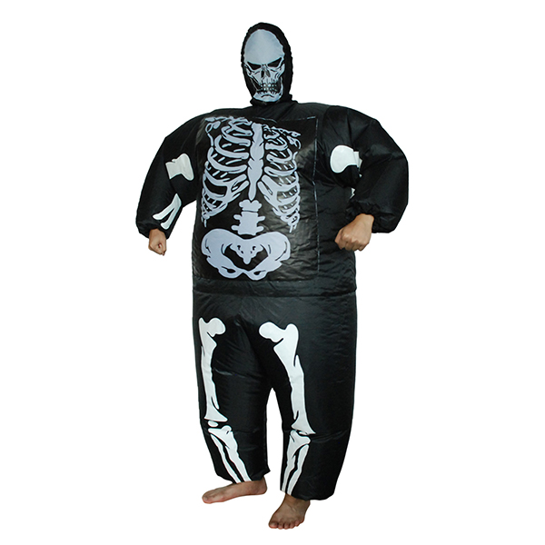 Adult Inflatable Ghost Costume Halloween Horrible Skeleton Jumpsuit Cosplay