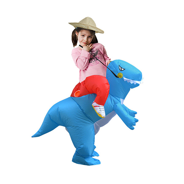 Kids Inflatable Blue Dinosaur Costume Halloween Children Cosplay