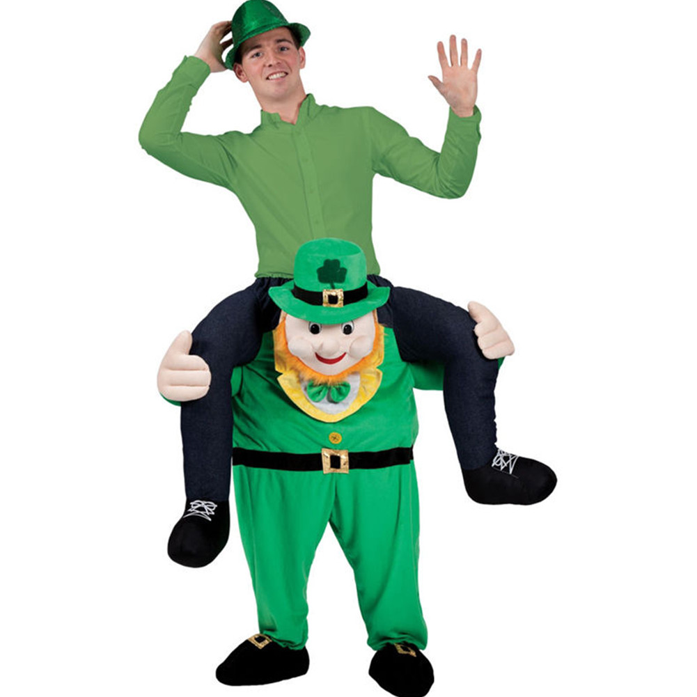 Adulto Carry Me (Ride On) Costumi Leprechaun Pantaloni Mascot Carnevale Halloween