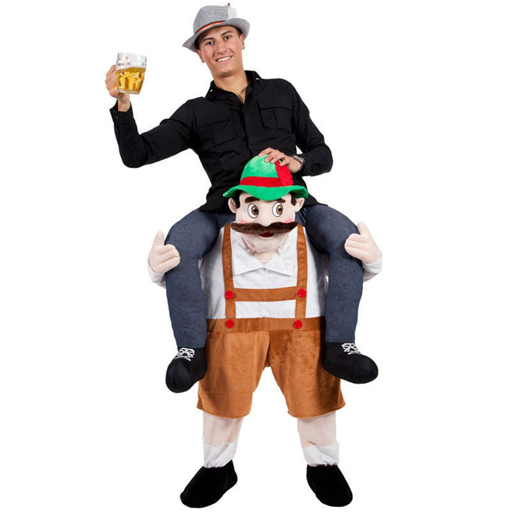 Adulto Carry Me (Ride On) Costumi Baviera Birra uomo Pantaloni Mascot Carnevale Halloween